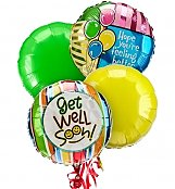 Balloons: Get Well Balloon Bouquet-4 Mylar