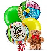 Balloons & Bear: Get Well Balloons & Bear-4 Mylar