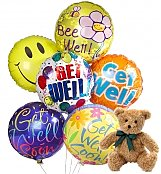 Balloons & Bear: Get Well Balloons & Bear-6 Mylar