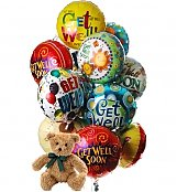 Balloons & Bear: Get Well Balloons & Bear-12 Mylar