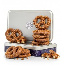 Chocolate & Sweet Baskets: Toffee Chocolate Pretzels Tin
